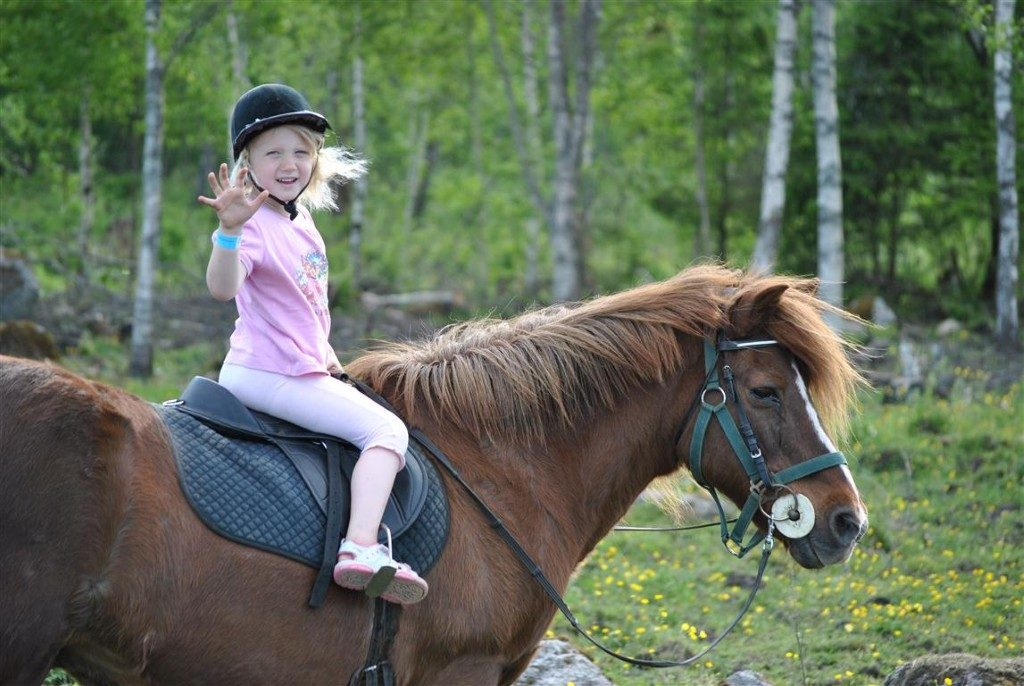 Family horseback riding ranch farm kids children
