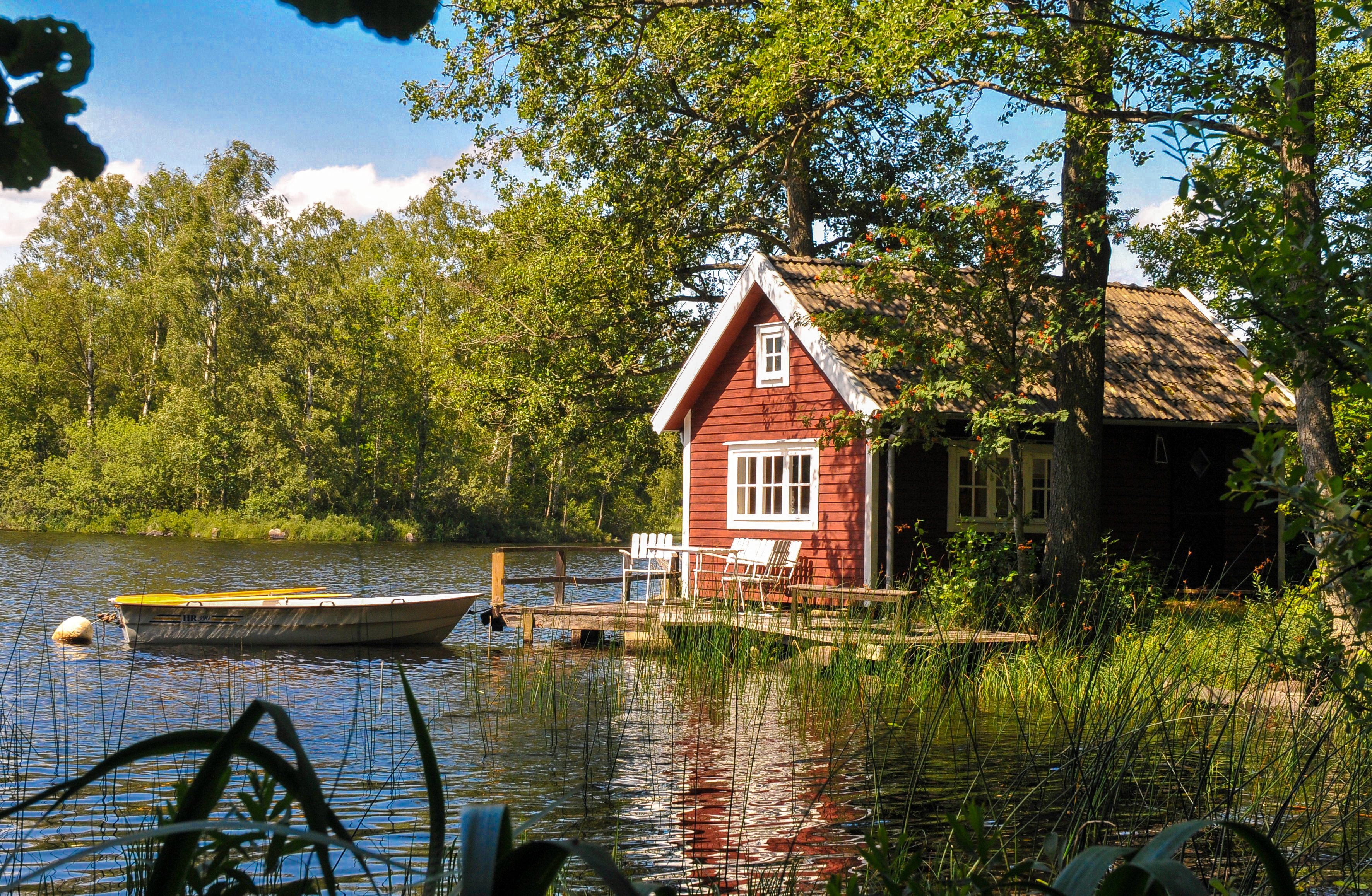 Rent Swedish lakeside cabins & cottages   Farmstay Sweden