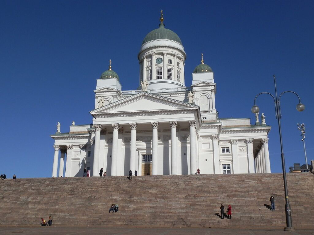 helsinki finland white cathedral church stairs